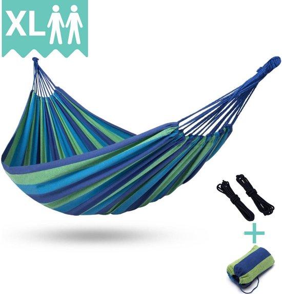 2 Persoons Hangmat XL - Dubbele Hangmat Blauw - In Opbergtas + Bevestigingstouwen