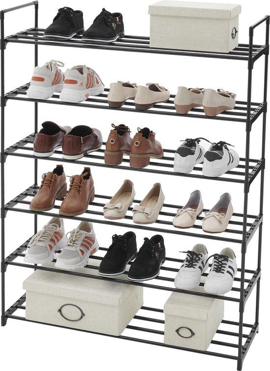 ACAZA Praktisch Schoenenrek met 6 Lagen voor 24 Paar Schoenen - Metaal / Kunststof - Zwart