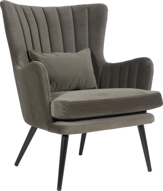Alora Stoel Charlie Donkergrijs - Velours - relaxstoel - fauteuil - eetkamerstoel