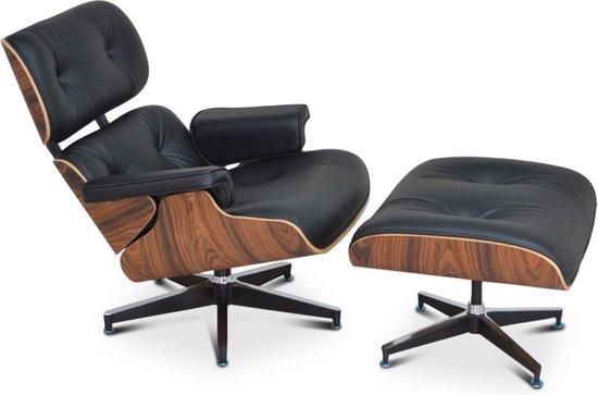 Eames Lounge Chair + Hocker - Zwart - Palissander - Fauteuil - Set