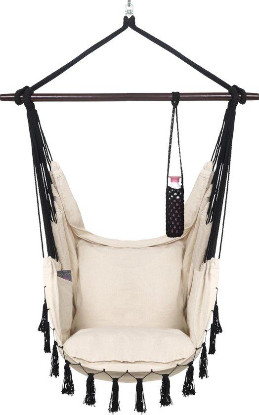 Hangstoel voor Binnen & Buiten. Met 2 Kussens, Drankhouder & Boekenvak - XXL Hangstoel (ook voor kinderen). Belastbaar tot 150kg (Creme / Beige)