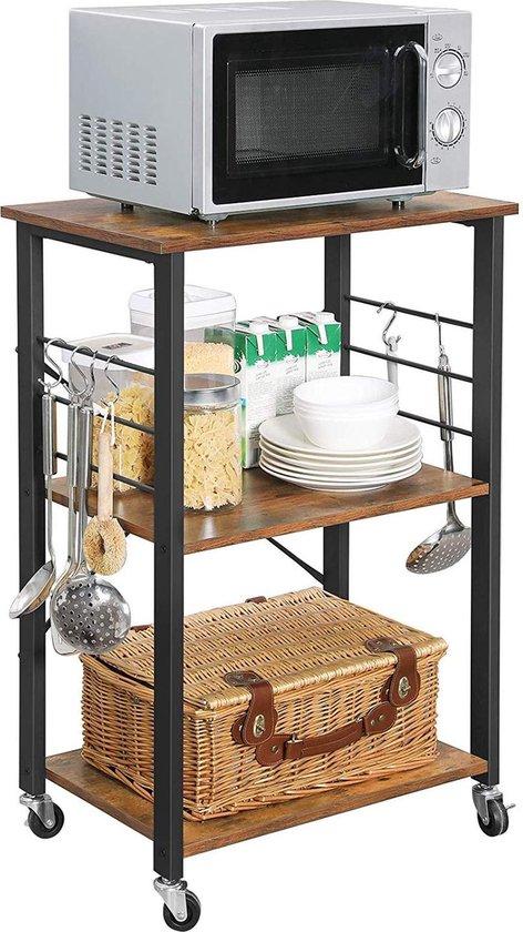 Keukenrek op Wielen - 3 Niveaus - Trolley Keuken Kast voor Microgolfoven - 6 Haken - 89 x 60 x 40 - Donkerbruin / Vintage
