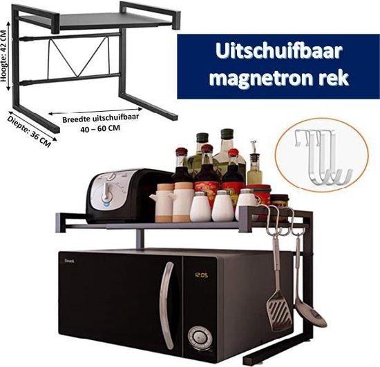 magnetron rek van tripleAgoods - magnetronkast - keuken organizers - uitschuifbaar 40-65 cm - kruidenrek - magnetron beugel - magnetron houder - aanrecht organiser - bureau organizer - keuken opbergrek - keukenrek staand - keukenrek - magnetronrek