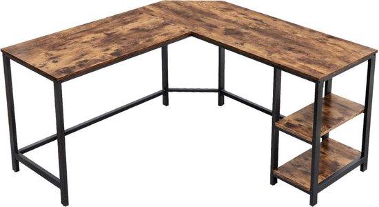 MIRA Home - Bureautafel - Laptop tafel - L-vormig - Hout/Metaal - Bruin/Zwart - 138x138x75