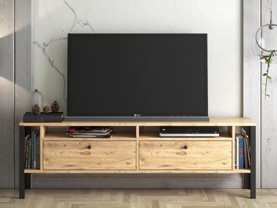 Moodliving TV Meubel Atlanta - Tv-kast - Tv Lowboard - Tv-tafel - Tv Meubels - Hout en Metaal - Design - Atlantic Pine - 160x26x51 cm