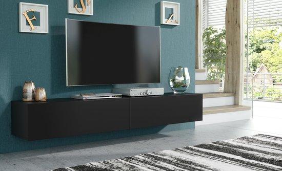 Pro-meubels - Hangend Tv meubel - Tv kast - Tunis - Mat zwart - 200cm - 2x100cm