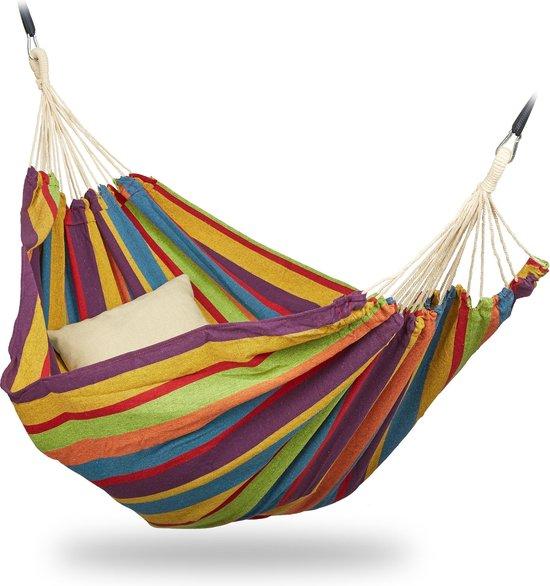 relaxdays 2 persoons hangmat - tot 300 kg - tweepersoons - buiten - katoen - opbergtas geel/groen/blauw/rood