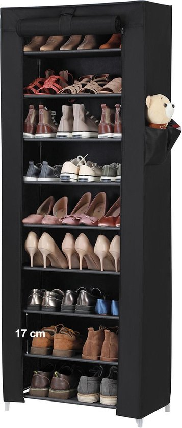 Schoenenrek met 10 niveaus - tot 27 paar schoenen - 58cm breed en 160cm hoog - Zwart