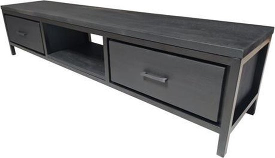 Tv-meubel Ben - 2 laden - massief hout - zwart - 192 x 40 x 44 cm   MP Glas & Design