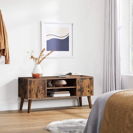 VASAGLE retro lowboard, tv-plank, tv-tafel, tv-meubel in de jaren 50/60 look, retro meubelen voor je flatscreen, gameconsoles, woonkamer, kantoor, houtlook LTV08BX