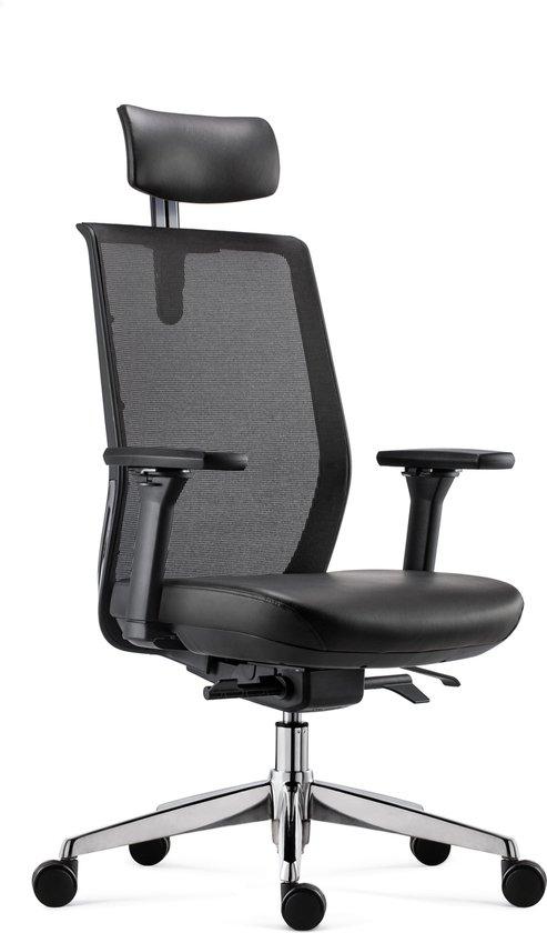 BenS 837HExe-Synchro-4 - Bureaustoel - rug Mesh - zitting en hoofdsteun leder - Zwart - Ergonomisch, Voldoet aan EN1335 & ARBO normen