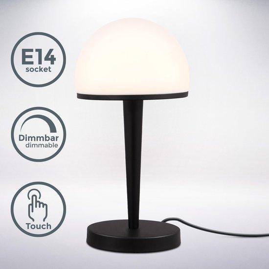 B.K.Licht - Klassieke Tafellamp - ingebouwde dimmer - design - glazen - zwarte - tafellamp - opaalglas - bauhaus - voor binnen - slaapkamer - woonkamer - bedlamp - netstroom - E14 fitting - exct. lichtbron