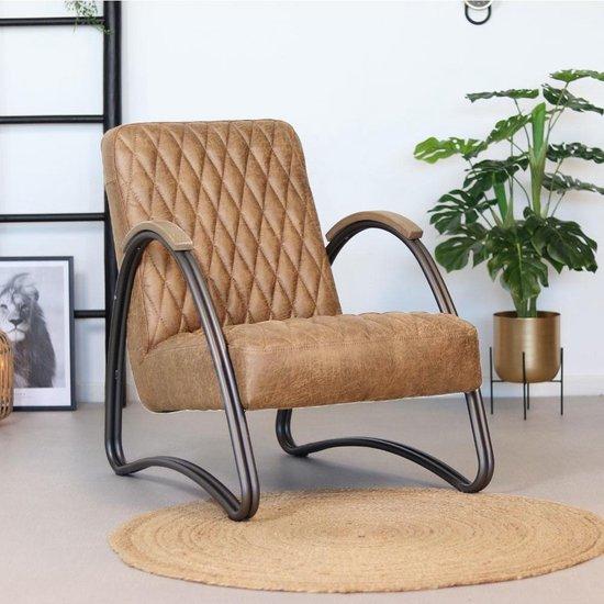 Bronx71® Fauteuil met armleuning Ivy beige - Zetel 1 persoons - Relaxstoel - Relaxzetel - Fauteuil beige