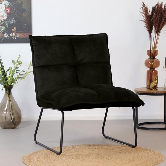 Bronx71® Velvet fauteuil zwart Malaga - Zetel 1 persoons - Relaxstoel - Fauteuil zonder armleuning