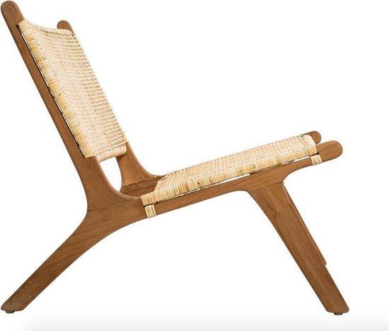 Trend lounge relax stoel van teak en rotan L. 65 x D. 80 x H. 71 cm zithoogte 38 cm